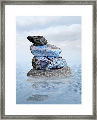 Stones In Water Framed Print by Gill Billington