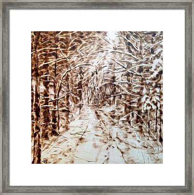 Stopping By Woods On A Snowy Evening Framed Print by Victoria General