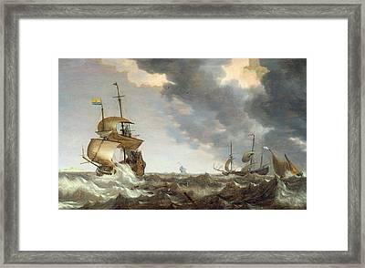Storm At Sea Framed Print by Bonaventura Peeters