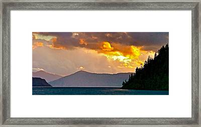 Storm Clouds Over Lake Pend Oreille  Framed Print by Brent Sisson