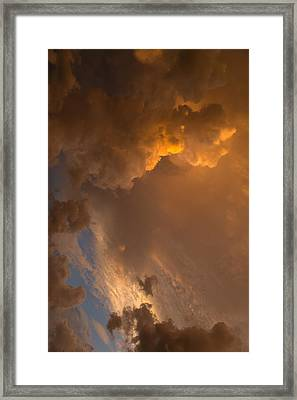 Storm Clouds Sunset - Dramatic Oranges - A Vertical View Framed Print by Georgia Mizuleva