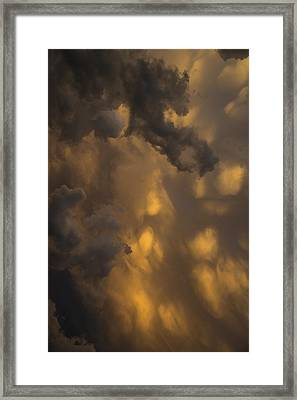 Storm Clouds Sunset - Ominous Grays And Yellows - A Vertical View Framed Print by Georgia Mizuleva