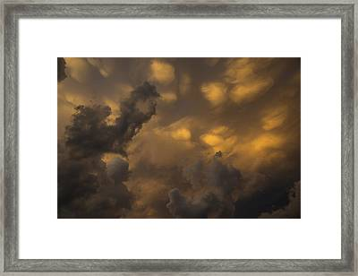 Storm Clouds Sunset - Ominous Grays And Yellows Framed Print by Georgia Mizuleva