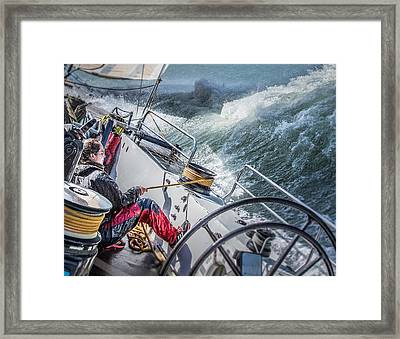 Storm In San Francisco Bay Framed Print by Michael Delman