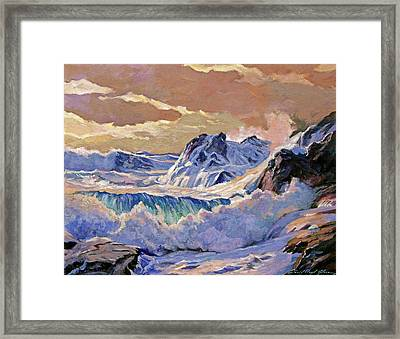 Storm On Pacific Coast Framed Print by David Lloyd Glover