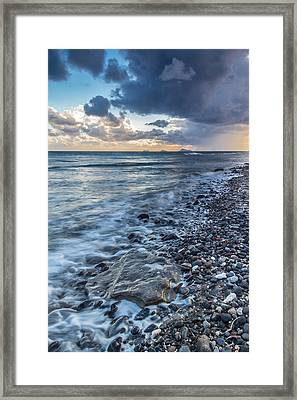 Storm On The Rocks Framed Print by Anthony Mitchell