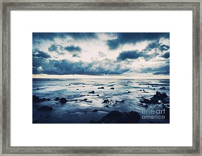 Storm On The Sea, Ocean Storm Framed Print by Unknow