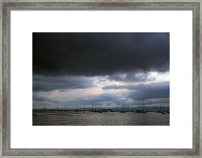 Storm Over Lake Champlain Framed Print by John Burk