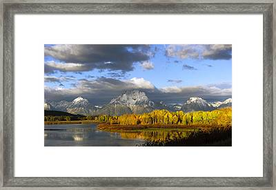 Storm Over The Ox Bow And Mt Moran Framed Print by Gary Langley