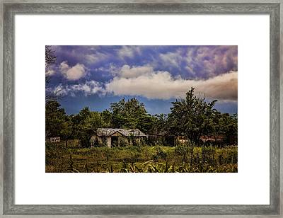 Storm Rolls Over Abandoned House Framed Print by Toni Hopper