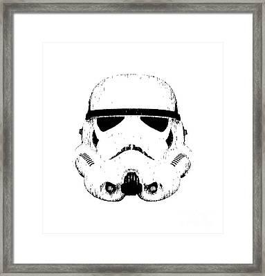 Stormtrooper Helmet Star Wars Tee Black Ink Framed Print by Edward Fielding