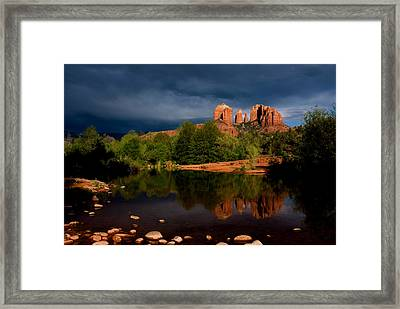 Stormy Day At Cathedral Rock Framed Print by David Sunfellow