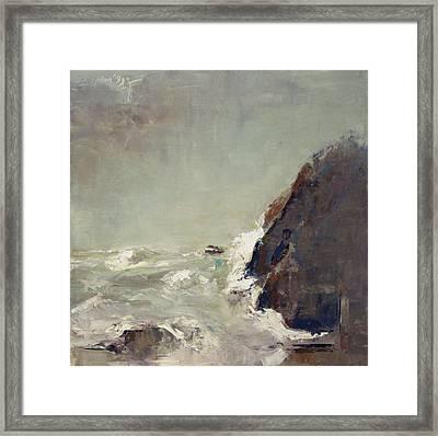 Stormy Ocean Framed Print by Becky Kim