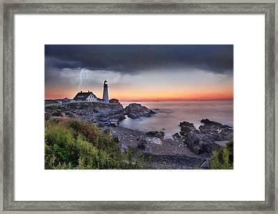 Stormy Portland Framed Print by Lori Deiter