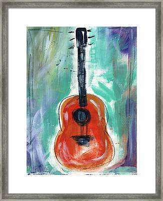 Storyteller's Guitar Framed Print by Linda Woods