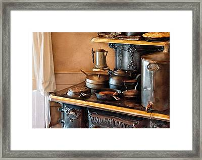 Stove - Breakfast At My Great Grandmothers Framed Print by Mike Savad