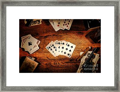 Straight Flush Framed Print by Olivier Le Queinec