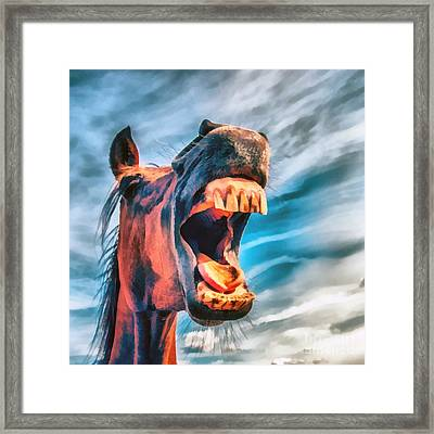 Straight From The Horses Mouth Framed Print by Edward Fielding