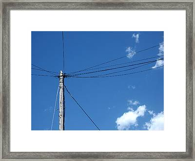 Stranded 2 - Electricity Pole On Brilliant Blue Sky Framed Print by Robert Schaelike
