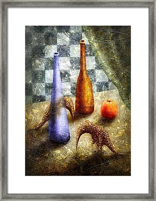 Strange Games On The Table Framed Print by Lolita Bronzini