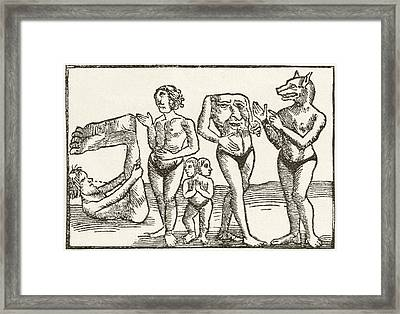 Strange Tribes From The Wilds Framed Print by Vintage Design Pics