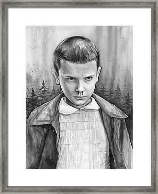 Stranger Things Fan Art Eleven Framed Print by Olga Shvartsur