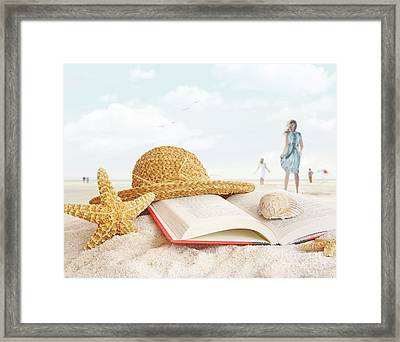 Straw Hat  Book And Seashells In The Sand Framed Print by Sandra Cunningham