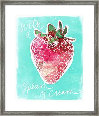 Strawberries And Cream Framed Print by Linda Woods