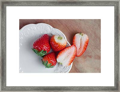 Strawberries From Above Framed Print by Tom Mc Nemar