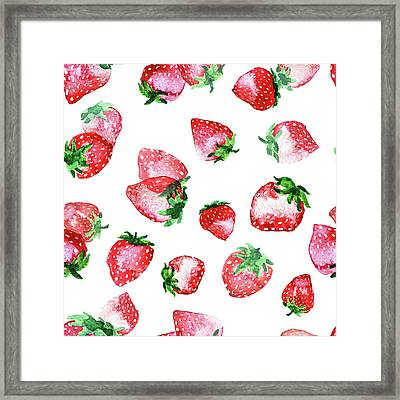 Strawberries Framed Print by Varpu Kronholm