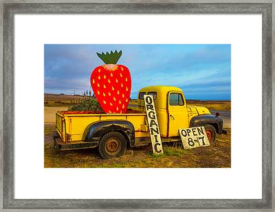 Strawberry Sign In Pickup Truck Framed Print by Garry Gay