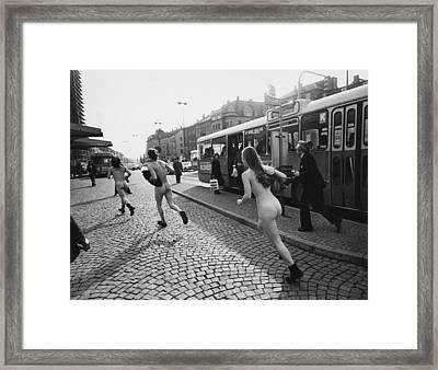 Streakers In Munich, Germany, 1974 Framed Print by Everett