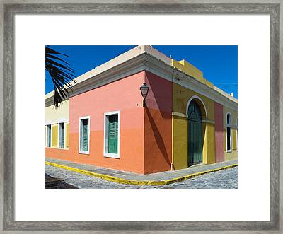 Street Corner In Old San Juan Framed Print by George Oze