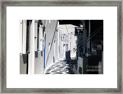 Street Curves In Mykonos Infrared Framed Print by John Rizzuto