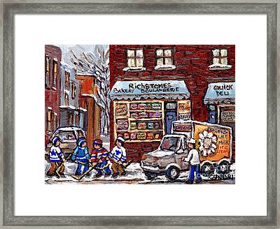 Street Hockey And Borden's Milk Man At Richstone Bakery And Quick Deli Montreal Memories Painting   Framed Print by Carole Spandau