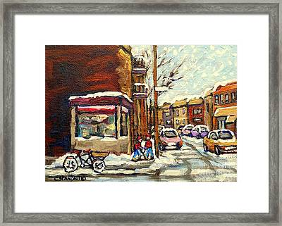 Street Hockey Corner Verdun Depanneur Urban Winter Paintings Best Authentic Original Montreal Art  Framed Print by Carole Spandau