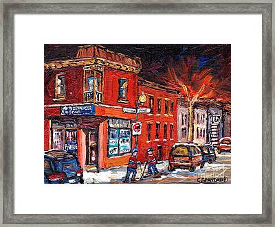 Street Hockey Night Scene Painting 4 Saisons Depanneur Rue St Dominique And Pine Montreal Scene Art Framed Print by Carole Spandau