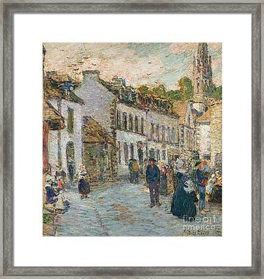 Street In Pont Aven Framed Print by Childe Hassam