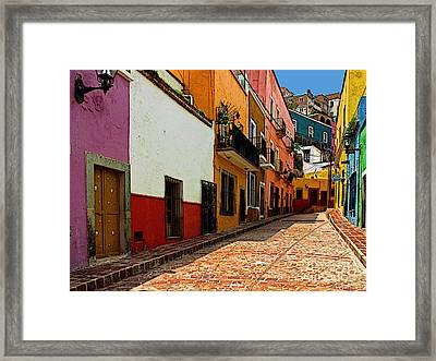 Street Of Color Guanajuato 5 Framed Print by Mexicolors Art Photography