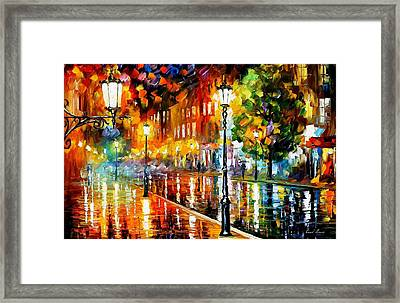 Street Of Illusions - Palette Knife Oil Painting On Canvas By Leonid Afremov Framed Print by Leonid Afremov