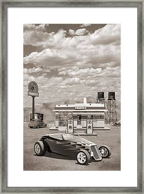 Street Rod At Frontier Station Sepia Framed Print by Mike McGlothlen