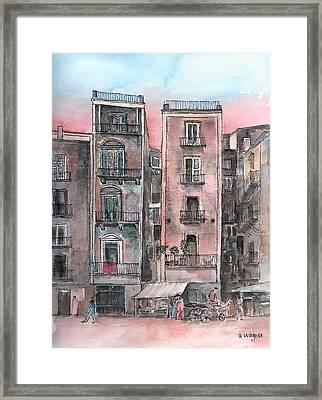 Street Scene At Twilight Framed Print by Arline Wagner