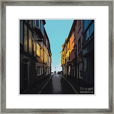 Street With A View Framed Print by Bedros Awak