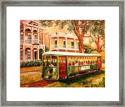 Streetcar In The Garden District Framed Print by Diane Millsap