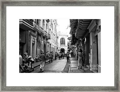 Streets Of Cartagena II Framed Print by John Rizzuto