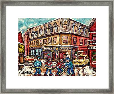 Streets Of Montreal Verdun Depanneur Winter Scene Paintings Canadian Hockey Art Carole Spandau Framed Print by Carole Spandau