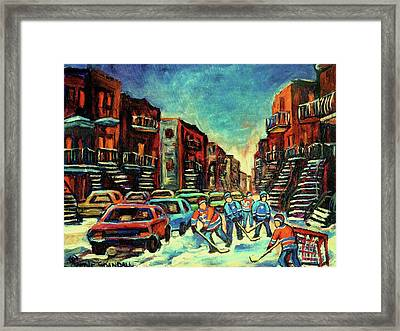 Streetscenes Of Montreal Hockey Paintings By Montreal Cityscene Specialist Carole Spandau Framed Print by Carole Spandau