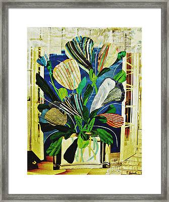 Striped Tulips At The Old Apartment Framed Print by Sarah Loft