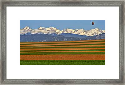 Stripped Fields And Balloon Framed Print by Scott Mahon