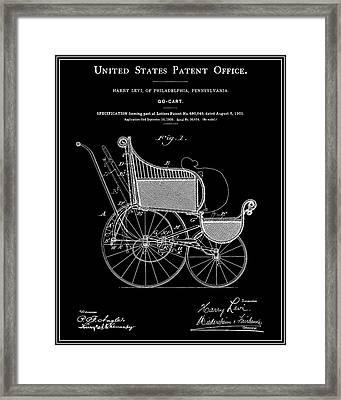 Stroller Patent - Black Framed Print by Finlay McNevin